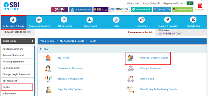 SBI Personal details or Mobile-Profile Tab