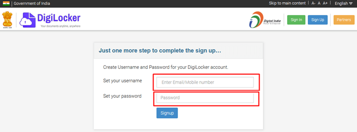 Digilocker User Account creation