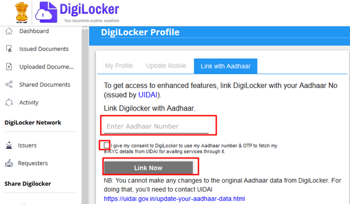 how to link aadhar with digilocker account