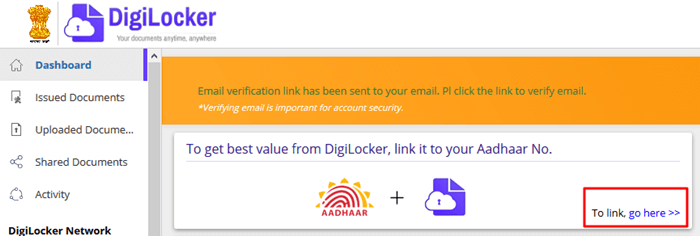 link aadhar with digilocker
