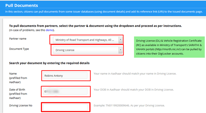 how to link driving license with digilocker account