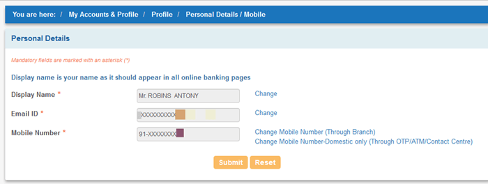 SBI Registered mobile number