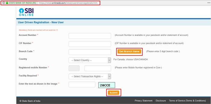 user driven registration-sbi online banking application
