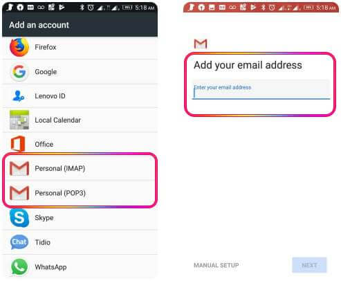 add sbcglobal.net email in android mobile settings