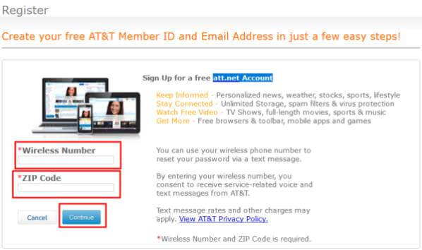 AT&T Member ID and Email Address