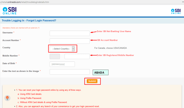 SBI reset your login password online