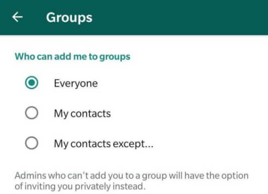 WhatsApp group settings