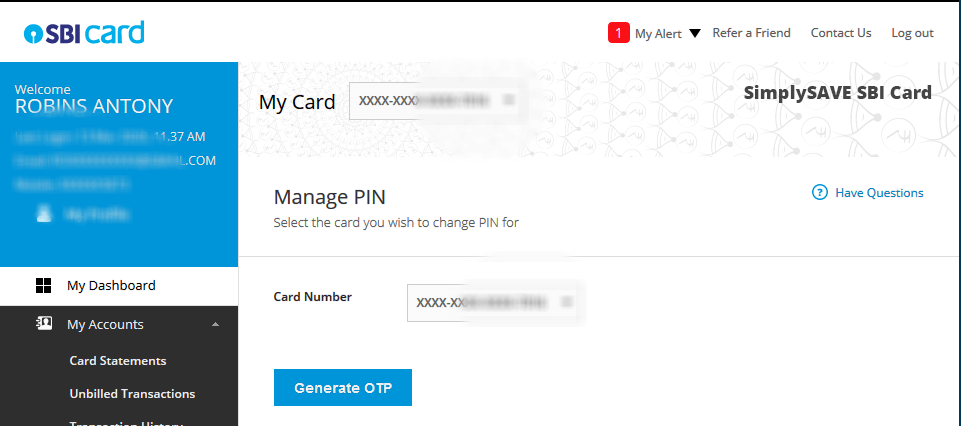 Generate SBI Credit card PIN