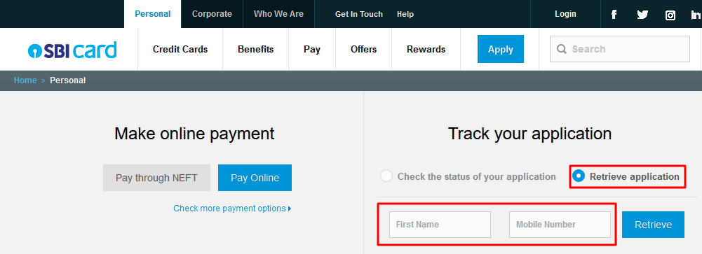 Retrieve SBI credit card application referenec number