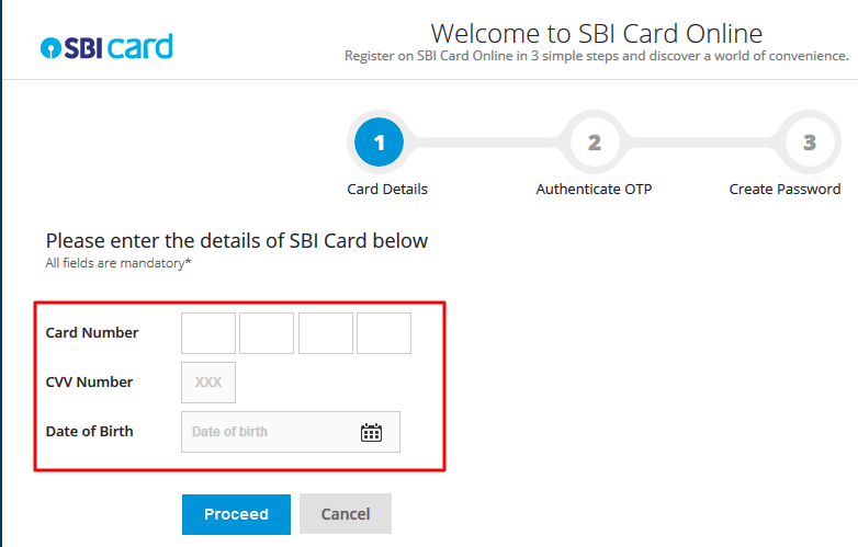 SBI Credit card activation process registration