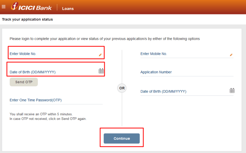 icici credit card application status online tracking