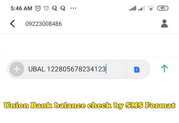 union bank balance check by sms