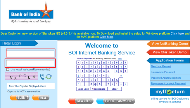 Bank of india Internet banking login