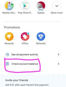 Check account balance using Google pay