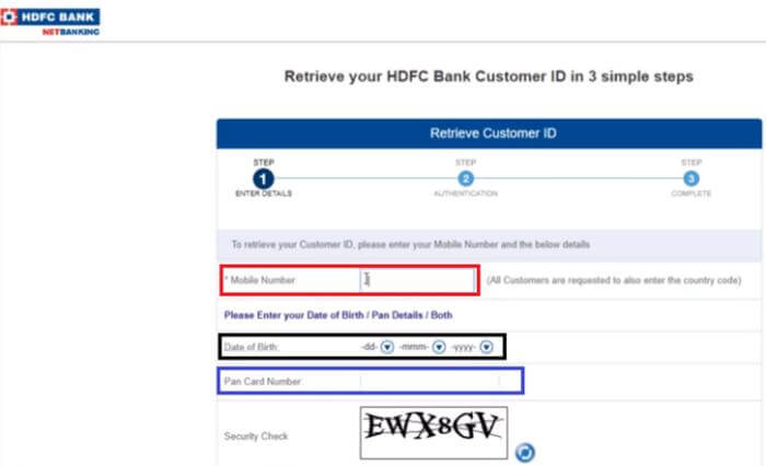 Generate HDFC Bank Customer Id