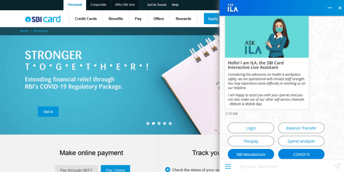 SBI Card statement through Through Chatbot ILA