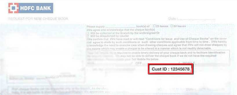 Find customer ID from HDFC Cheque book