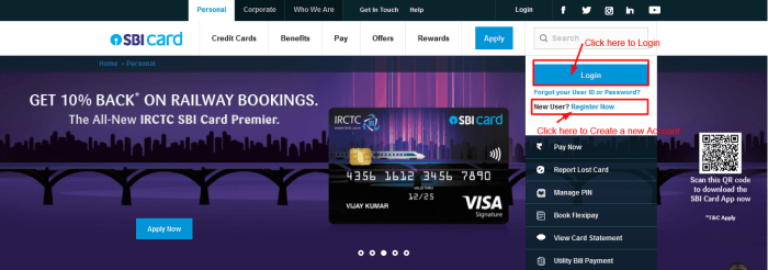 SBI Card Online login