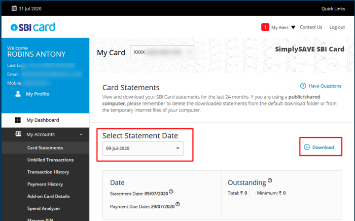 sbi credit card statement online download