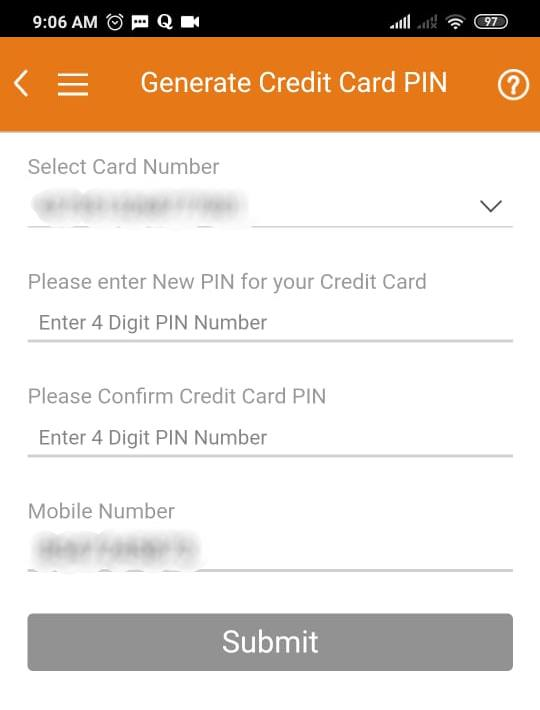 credit card pin generation through imobile app