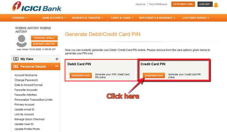 Generate ICICI credit card Pin