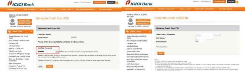 ICICI credit card pin generation OTP