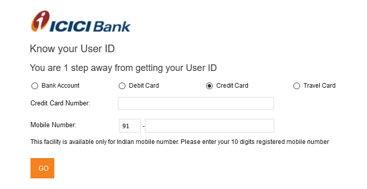 Get User ID ICICI Bank Credit Card