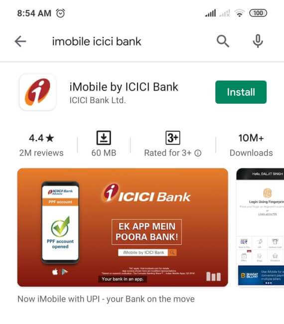 Download iMobile by ICICI Bank app