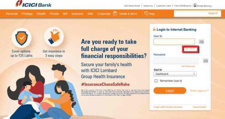 Login ICICI bank for online Pin generation