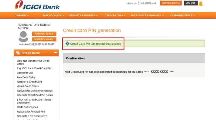 ICICI credit card Pin generation online