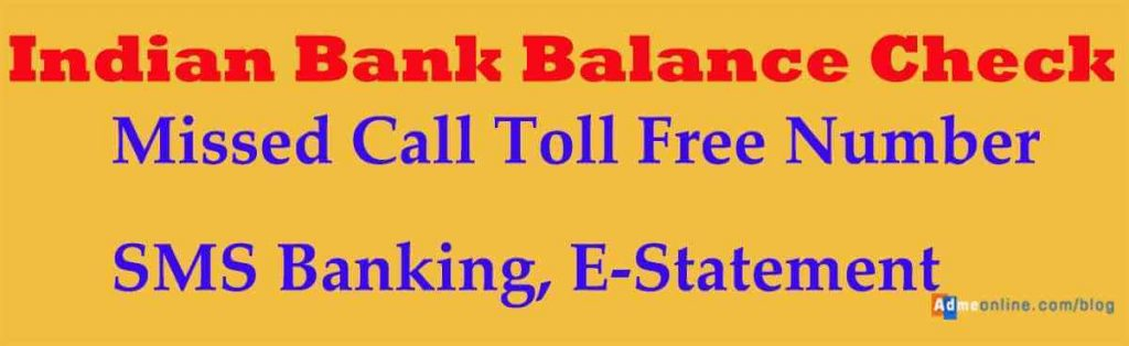 indian bank balance check toll free number