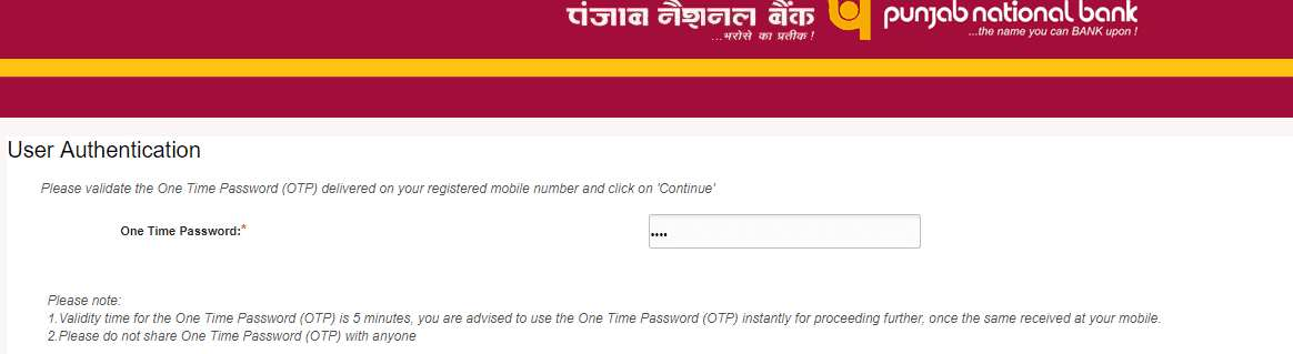 OTP to generate PNB ATM Pin