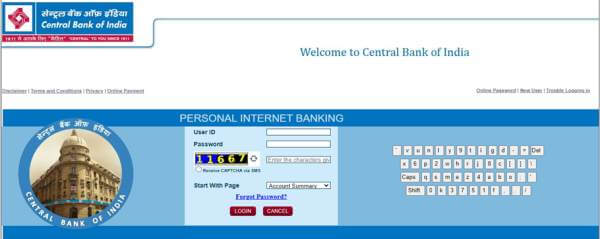 central bank of india online balance check